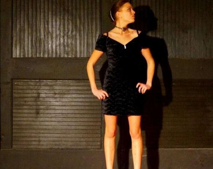Crushed Velvet Mini Dress 1980s Vintage Little Black Dress SMALL Black Cocktail Dress Off Shoulder Sexy Short Sheath Dress by Cache'