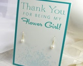 Pearl Flower Girl Earrings Thank You Card Children's Wedding Jewelry Little Girl White Pearl Earrings Junior Bridesmaid Gifts 14kt Gold Fill