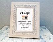 8x10 Oh Snap! hashtag wedding sign - custom hashtag sign for wedding guests - social media sign for wedding photos
