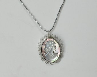 Vintage Sterling Silver Filigree Mother of Pearl Cameo Pin Pendant 17 inch Sterling Chain