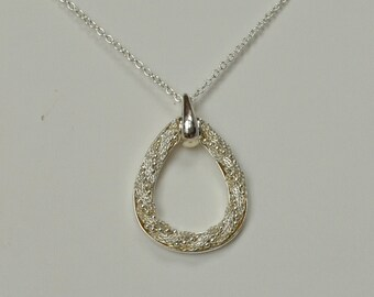 """Vintage SHA Silver Tone Necklace Twisted Chain Teardrop Pendant 19"""" Chain"""