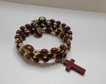 Vintage Wooden Rosary Bracelet (3416) Upper Arm Or Wrist