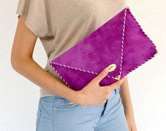 Purple leather clutch / Handmade leather bag / Italian leather / Envelope clutch