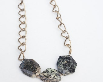 SALE-50% OFF-Gold Plated Jasper Chain Necklace