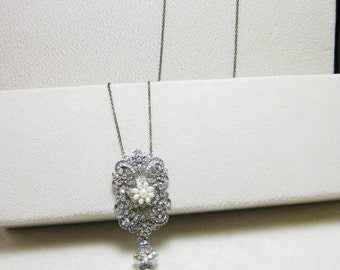 Long Necklace, Victorian Embellishment with Swarovski Crystal and Tassel - Make to order