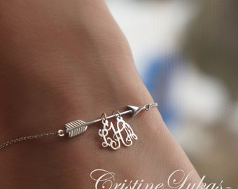 Arrow Bracelet in Solid Gold or Sterling Silver, Initials Bracelet With Sideways Arrow - Anklet With Arrow - 10K, 14K, 18K  Solid Gold