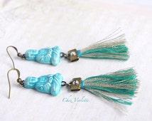 Turquoise Buddha earrings / tassel earring dangle / Zen Yoga Pastel jewelry