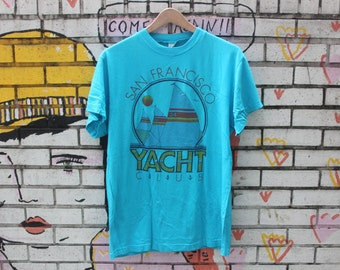 Vintage SAN FRANCISCO Yacht Club Shirt 100% cotton golden gate bridge california the bay exclusive boat