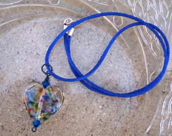 Multicolor Glass Heart Necklace - Windswept (N227)