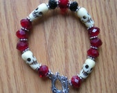 Skulls of bone Toggle bracelet. BLOOD Red, Black Cat Black.