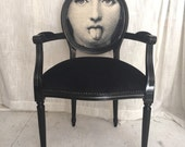 Black Velvet French Louis XVI Armchair Painted in high gloss with black upholstery fabric Dining Chairs