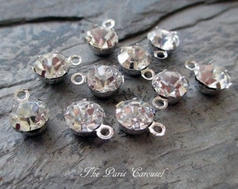 6 mm rhinestone drops dangle jewelry finding supply component in silver toned prong setting round one hole, lot of 10 pcs