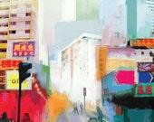 City Print by award Winning UK Artist / Mixed Media Painting / Cityscape Skyline / Singapore Art / Blue Wall Art