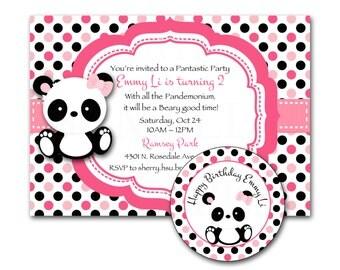 Panda Pink Polka Dot, Teal Chevron /Pink Red Cherry Blossom Baby Panda Birthday Invitation & Tag Set- DIY Printable File
