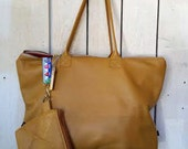 Supple Leather tote with matching Cosmetic Case
