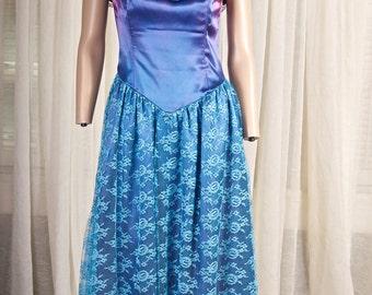 1980s Misses tea length formal lace dress. Blue, off the shoulder. Lawrence Welk, Lennon sisters