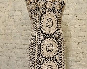 70s Crochet Dress - All Handmade - Form Fitting - Sexy