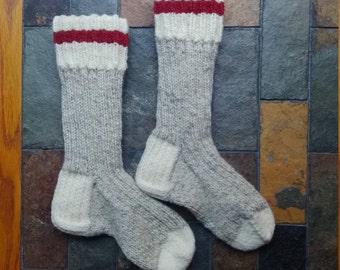 Custom Made Traditional wool work socks. Sock Monkey Style. Men's and Women's Sizes