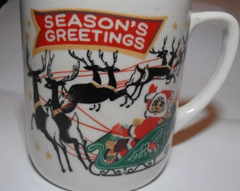 Mid Century vintage Santa claus and his sleigh mug, season's greetings mug, vintage christmas mug