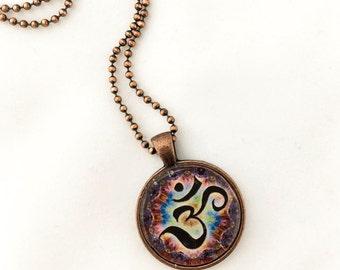 OM Spiritual Pendant with Necklace, Round, Spiritual Jewelry, Yoga Jewelry, Antique Bronze, Antique Silver
