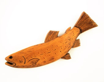 A Carved Fish - Pyrography Detailed Bass - Wood Carved Fish, Stained by a Crafter - Folk Art - Primitive - From Kansas Store