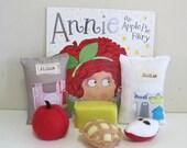 Child's Book and Reading Set, Felt Play Food Set, Felt fruit