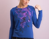 Flowers waterfall - Sweatshirt with frill / Womens sweatshirt / Printed sweatshirt