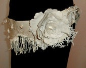 Leather and Lace fringe and Flower Belt