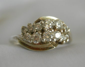 925 DQ Clear Stone Ring | Clear Rhinestones or CZ | Marked .925 DQ | Size 7.5 | Vintage