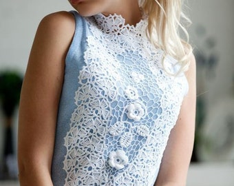 """Delicate openwork knit dress """"Nymph"""" with handmade Irish lace"""