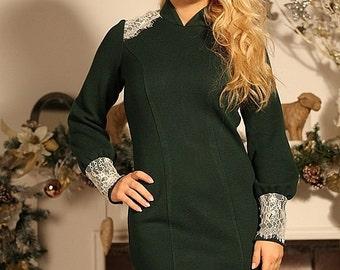 """Winter warm knit dress """"Bereginya"""" with lace. Midi dress"""