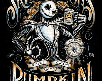 Jack's Pumpkin Ale Inspired Halloween Design by JP Perez and Barrett Biggers Premium Quality Giclee Archival Print