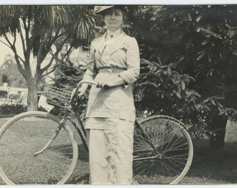 Woman with Bicycle, c1910s Vintage Snapshot Photo RPPC (59407)