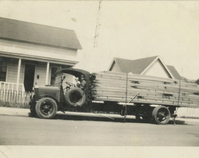 Alice in Daddy's Truck, c1920s Vintage Snapshot Photo (59405)
