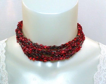 Red, Black and Gold Ribbon Necklace, Ladder Yarn Necklace, Crocheted Necklace, Fiber Jewelry, Vegan Jewelry, Gifts for Her