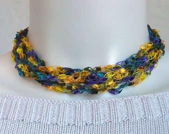 Teal, Gold & Purple Ladder Yarn Necklace: Crocheted Ribbon Necklace, Fiber Jewelry, Vegan Jewelry, Handmade in the USA, Ready to Ship