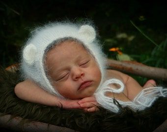 Newborn Angora Bear  Bonnet Photography Prop, MADE TO ORDER