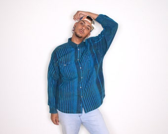 Vintage Blue Acid Wash Long Sleeved Button Up Shirt Sz XL