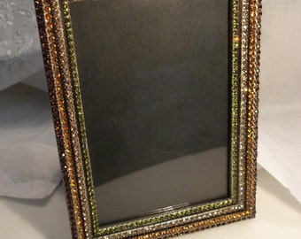"""Rhinestone Striped or Ribbed Frame, Unmarked, 4 x 6"""""""