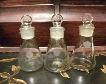 Set of 3 Pyrex Erlenmeyer Flask Beakers with Stoppers
