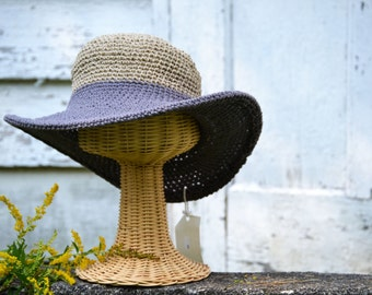 Hats with brims/ Artisan made hemp and organic cotton - large wire brim / Sun hat / Beach hat / Summer hat / women's hats