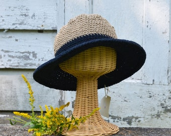 Wide brimmed hats/ Fall and Winter Hats / Black Cotton Hat/ Black Felt Hat / Fall and Winter Hats / Crochet Hats / Knit Hats / Womens Hats