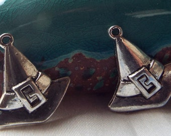 5 Pieces Halloween Witches Hat Charm, Jewelry Charm, Halloween Charm, Jewelry Making, Jewelry Supplies - C96615