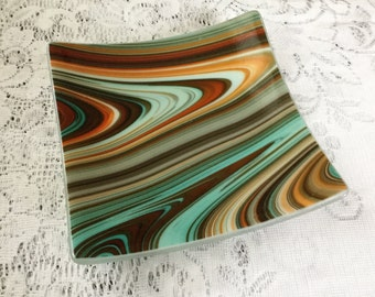 Fused Glass Plate, Turquoise Brown Orange Art Glass Dish, Southwest Home Decor - 093