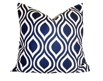 PILLOW and SHAM Cover - Pillow Cover King Queen Euro Reg. 12 16 18 20 24 26  DecorativeThrow Pillow Nicole Navy and White Slubs