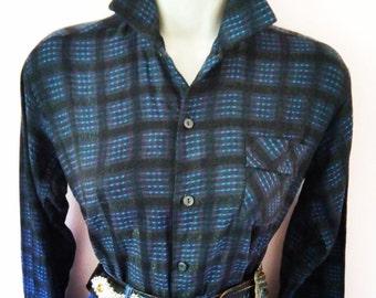Juvenile Delinquent Vintage 1950s 50s Grey &Blue Shirt with Metallic Lurex Flecks -Deadstock/Nos-Bad girl-Hot Rod-Rockabilly-Motorcycle Girl
