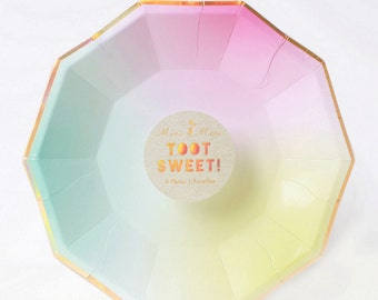 Small Ombre Paper Plates - Meri Meri- Party Decor Supplies Pastel, Pink, Toot Sweet