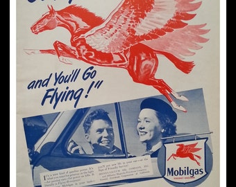 Vinatge Mobilgas with Red Pagasus Flying Horse Icon.  Classic 1946 Ad for Vintage Gasoline.  Man-Garage Cave.  13 x 10.  Ready for Framing.