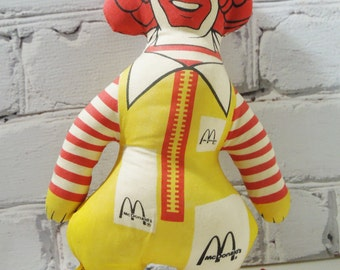 Ronald McDonald Stuffed Toy. Circa 1980's. Vintage Toys and Collectibles. The Golden Arches. Pop Culture. 1980's. Clowns.