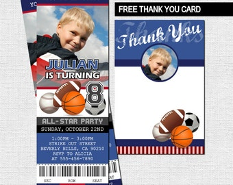 SPORTS TICKET INVITATIONS All-Star Birthday Party + Free Thank You Card (print your own) Personalized Printable Files